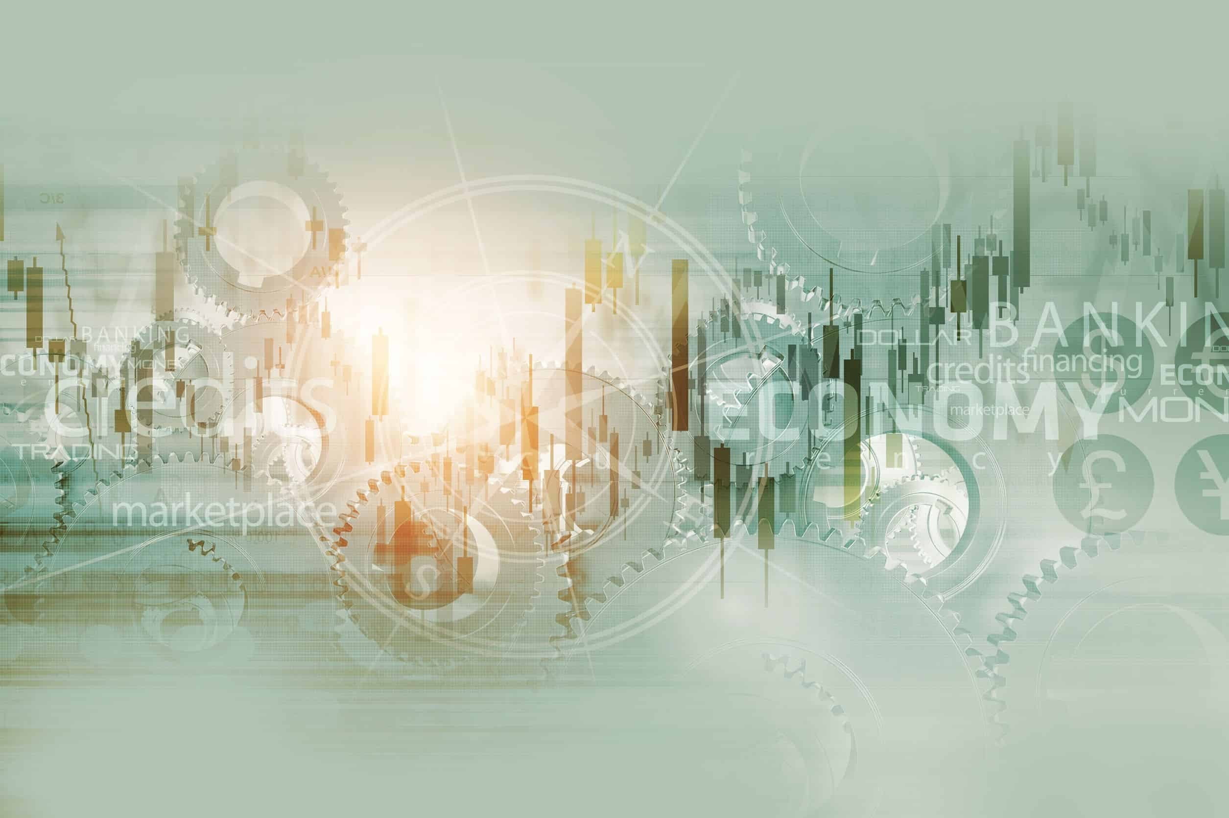 51611863 - global economy abstract background. world economy mechanism conceptual background illustration with trading stats, compass rose and some mechanisms.